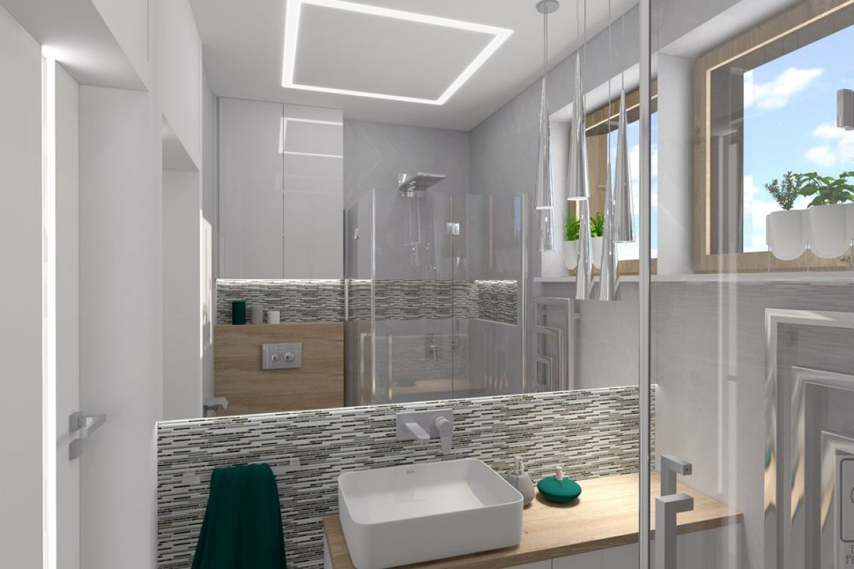 Grzywińscy strefa dzienna i mała łazienka - Nowoczesna aranżacja strefy dziennej z dużą ilością drewna