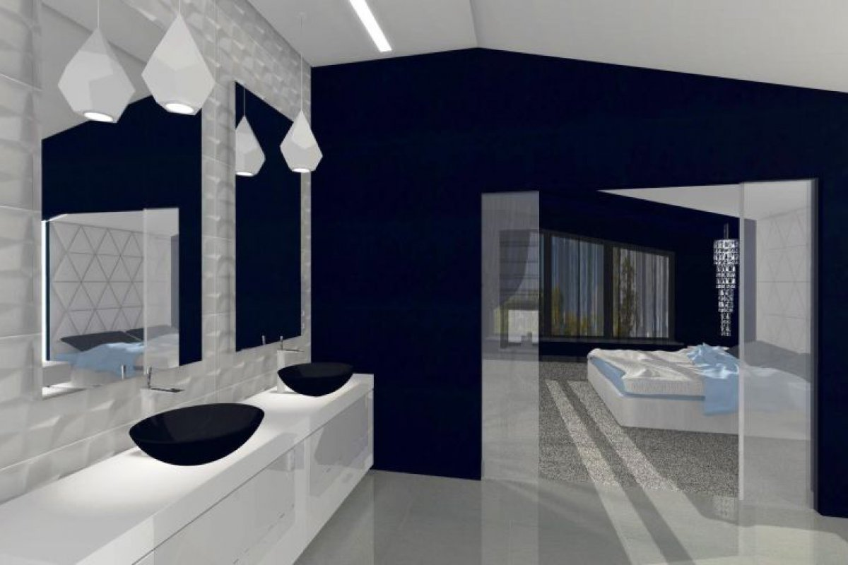 Kobaltowa sypialnia z salonem kąpielowym