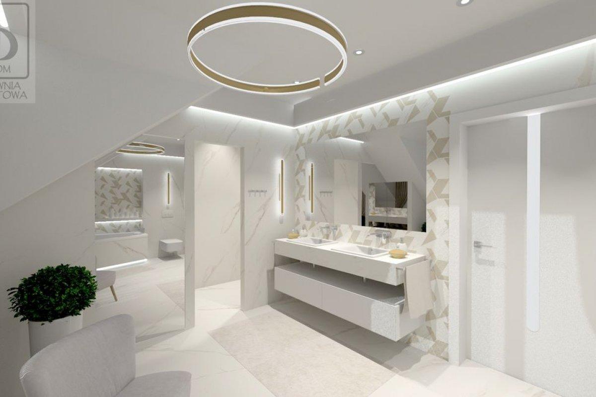 Łukasiak łazienka na piętrze - Salon kąpielowy z elementami złota