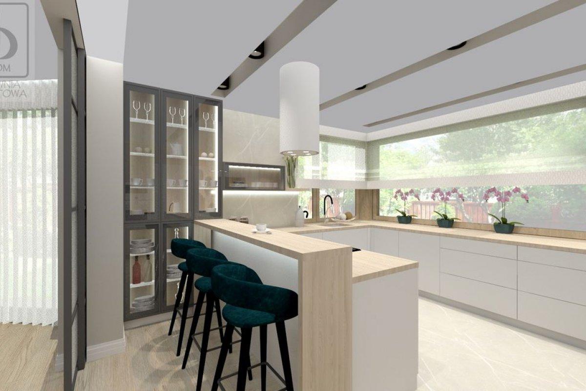 Łukasiak strefa dzienna - Wnętrza domu jednorodzinnego w stylu glamour