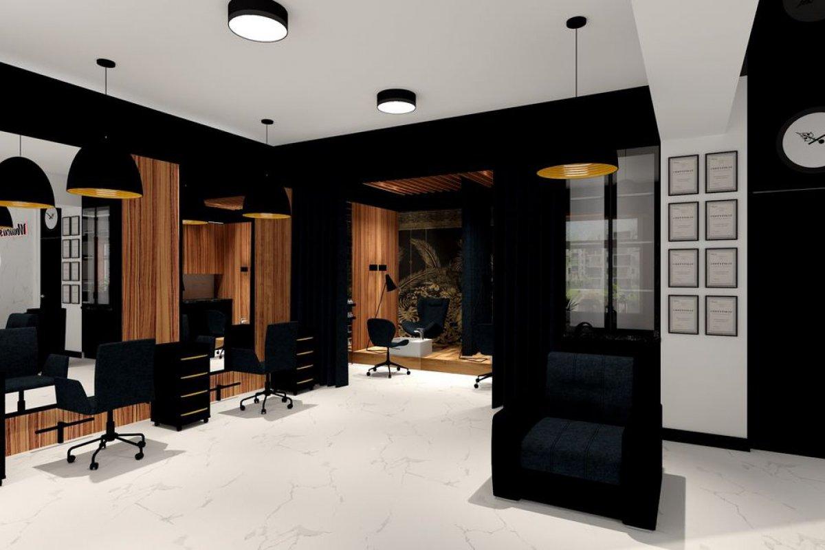 Salon fryzjersko kosmetyczny – Elegancki salon fryz.- kosmet.  w odważnym połączeniu bieli, czerni oraz drewna