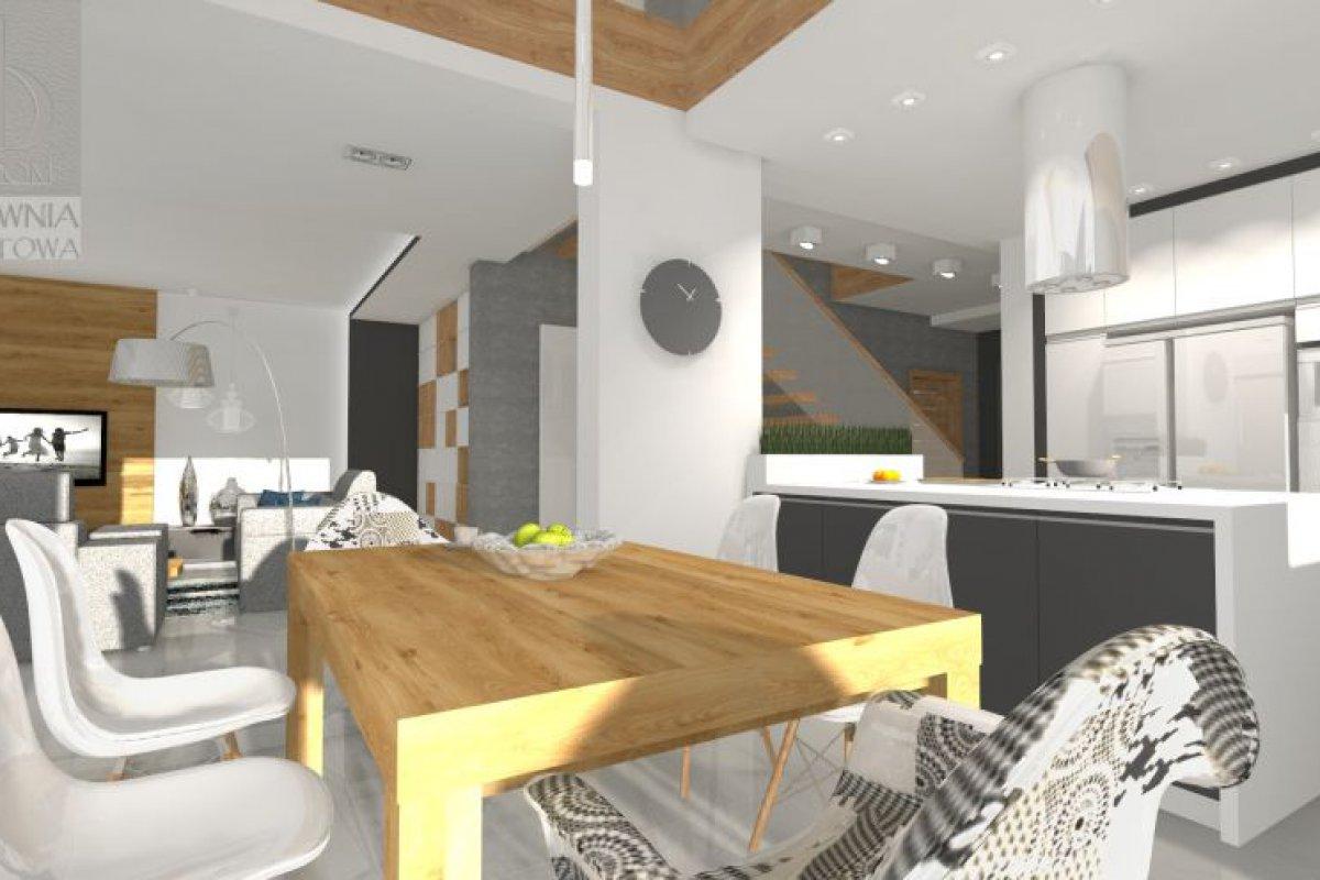 Salon z antresolą ocieplony drewnem
